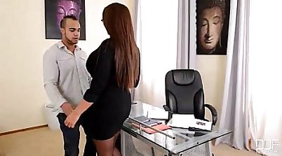 Skinny MILF Secretary gets fucked in the office