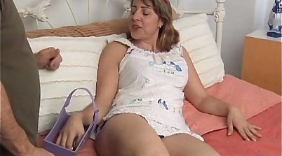 Appetizing light haired MILF rides massive boner of young guy in cowgirl pose