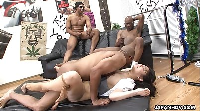 Asian slut is fucked in threesome with two toying black mans horny