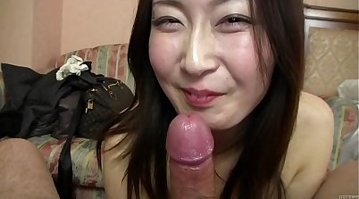 Buxom Japanese model Rina Hayama gives head and pov blowjob