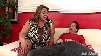 BBW with big boobs suck and ride a stiff cock