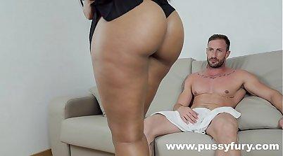 Bitch with milky tummy Joanna Black gives titjob and titfuck