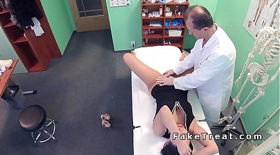 Asstastic blonde nurse knows how to please a girl inside