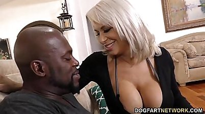 Busty Cougar Takes On Two Thick Black Cocks