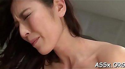 Alluring japanese slut with amazing body showing muff inside