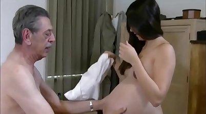 beautiful pregnant woman brings bitch with grandpa to scenes
