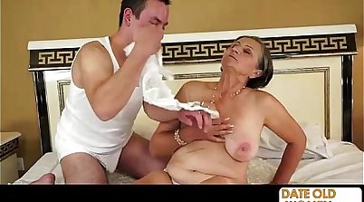 Chubby granny creampie on old man dick