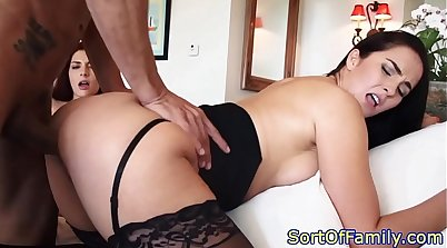Busty stepmom in stockings gives threeway