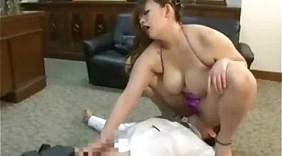 BBW femdom stripps using her strapon